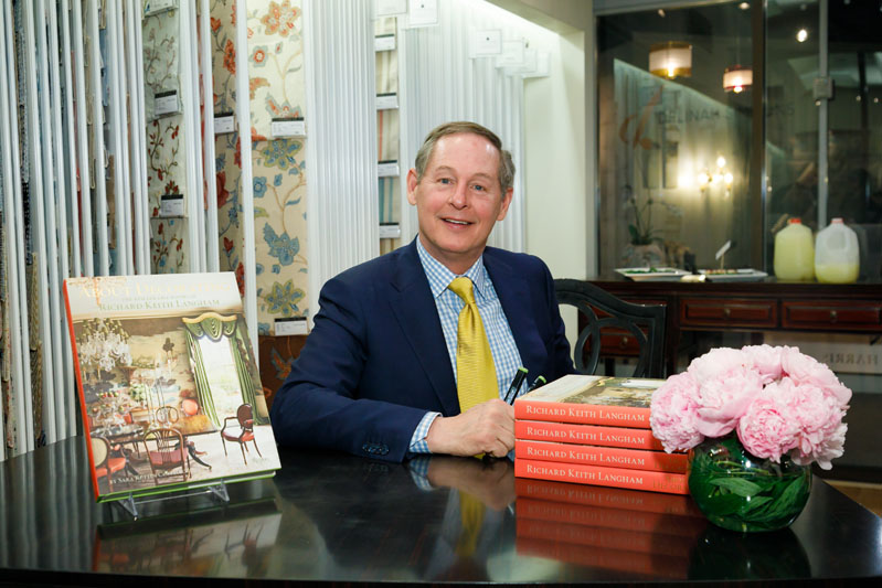 The always-cheerful designer Richard Keith Langham charms the crowd at his book signing for 'About Decorating,' hosted in the Fabricut showroom.