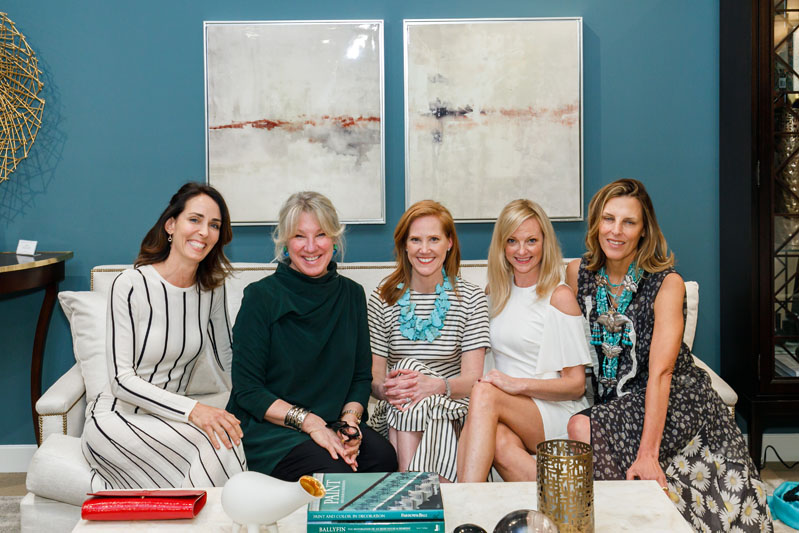 Katie Miner (second from right) and designers Ruthie Sommers, Carolyn Englefield, Lindsey Coral Harper and Katie Leede look right at home during a reception in the Century showroom following their 'Southern Roots' panel discussion.