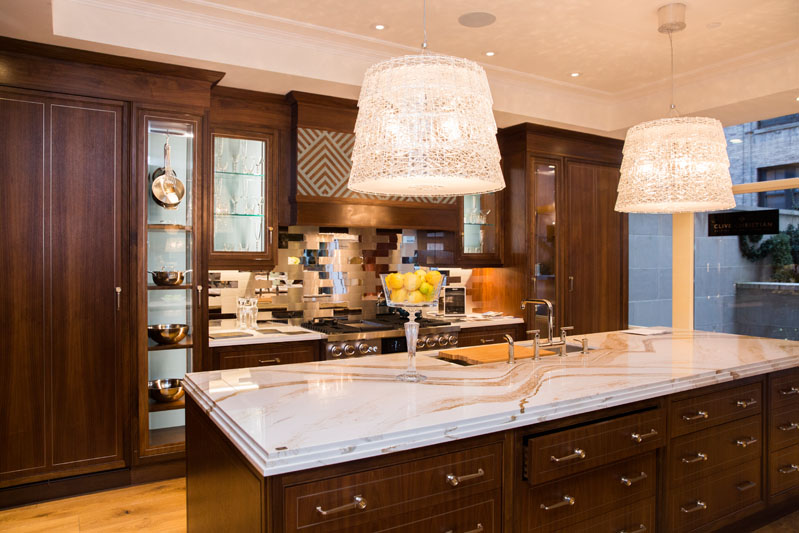 Clive Christian designed the kitchen with Kohler finishes.