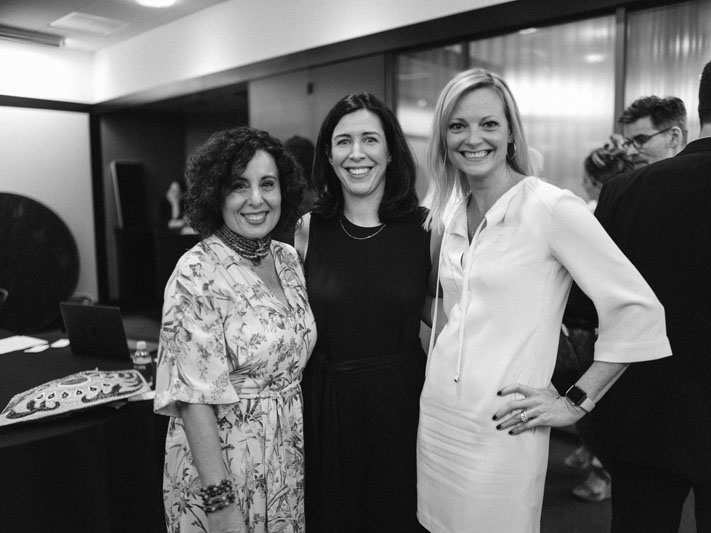 Pamela Jaccarino and Katie Brockman of Luxe Interiors + Design, with Katie Miner of ADAC