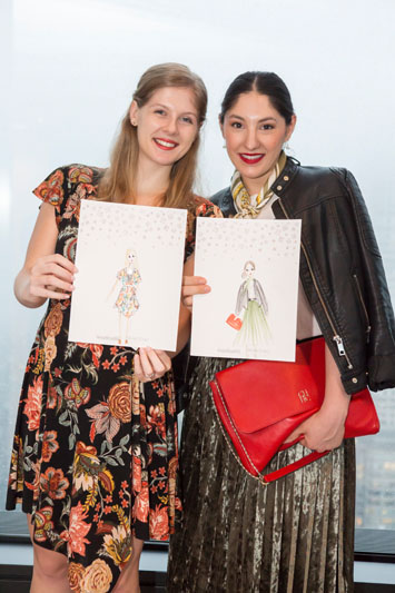Holly Speck and Alyssa Abrams showing off their customized Swarovski Lighting illustrations by Deanna First
