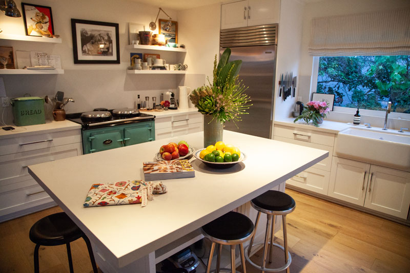 Kathryn M. Ireland's kitchen features an expansive Caesarstone countertop.