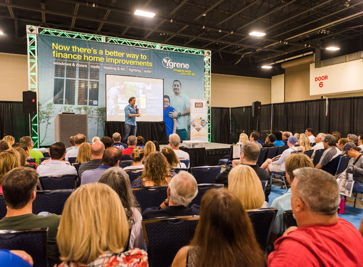 The show's celebrity designer, DIY Network's Matt Blashaw, gives a presentation to a packed house.