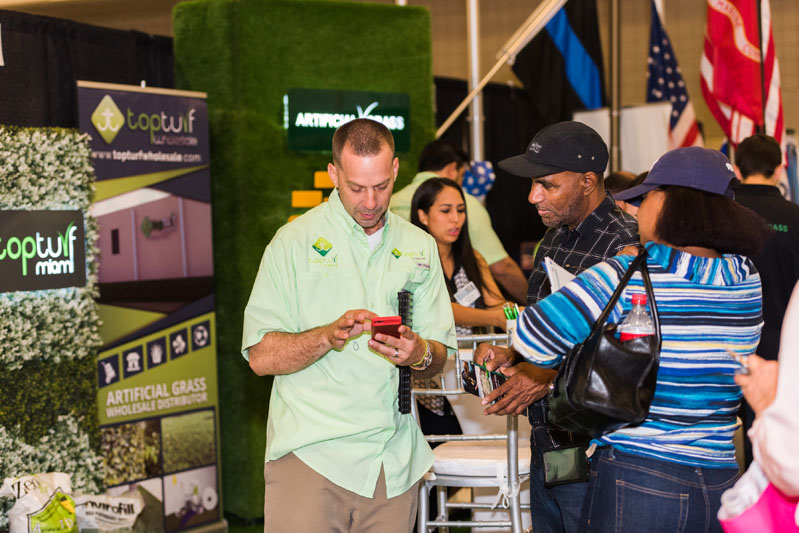 An exhibitor's mobile demonstration