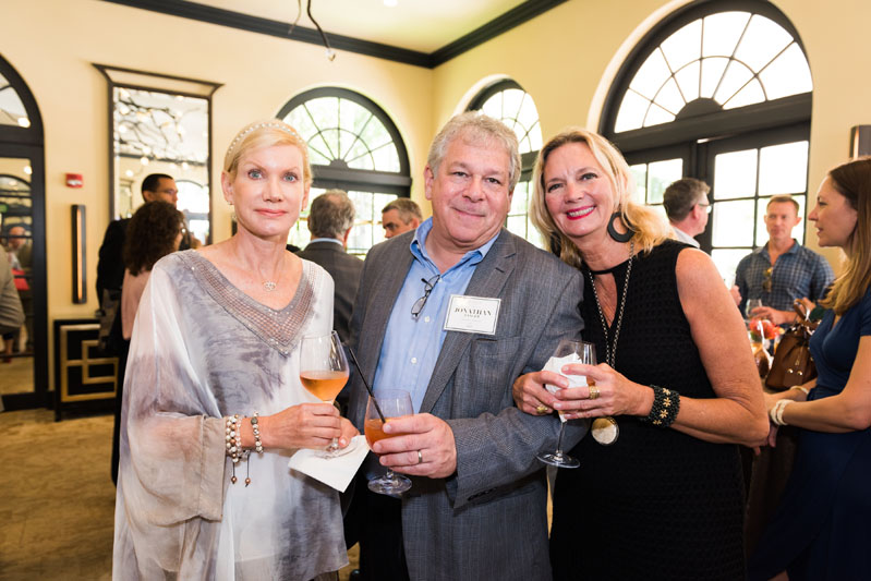Marla Axsom, panelist, Jonathan Zanger of Walker Zanger, and Joie Wilson enjoy the welcome soiree.