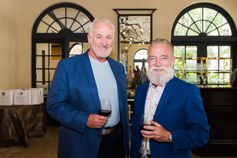 Ed Sheahan and Mark Jaeger at the Palm Beach Auth Lux Summit wine reception.