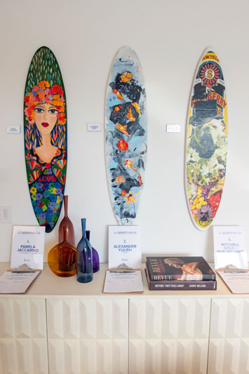 Mini surfboards by (from left) Pamela Jaccarino, Alexander Yulish, and Mitchell Gold + Bob Williams