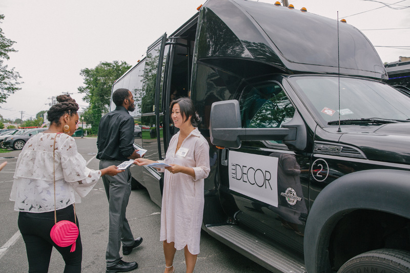 Elle Decor buses shuttled guests from home to home on the tour.
