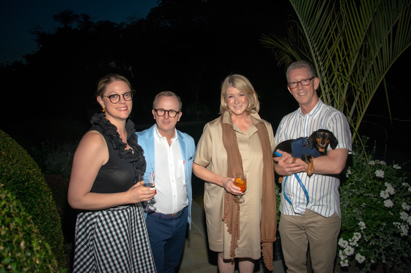 Jill Waage, Scott Sanders, Martha Stewart, Peter Wilson and Bailey the dachshund