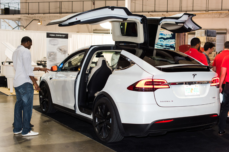 Tesla showcases one of its cars.