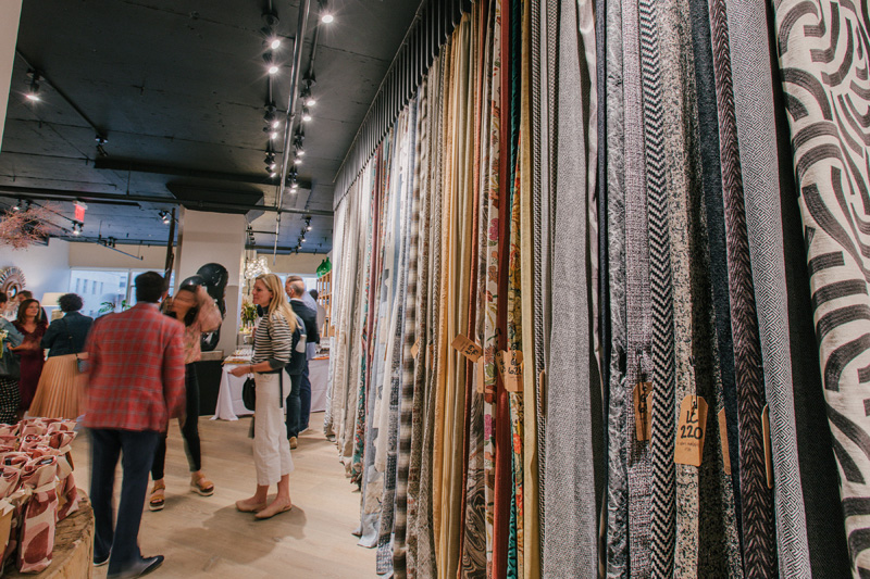 Castel's fabric collections are on display from floor to ceiling in its new showroom.