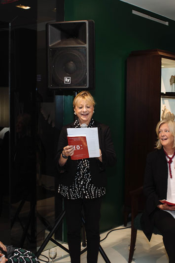 Carolyn Sollis and Charlotte Barnes of The Decorators Club, during the group's panel at Christopher Guy