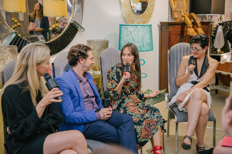 Garrow Kedigian, Katie Lydon and Jenny Dina Kirschner chat with Fabienne Cosulich during their panel at Cosulich Interiors & Antiques.
