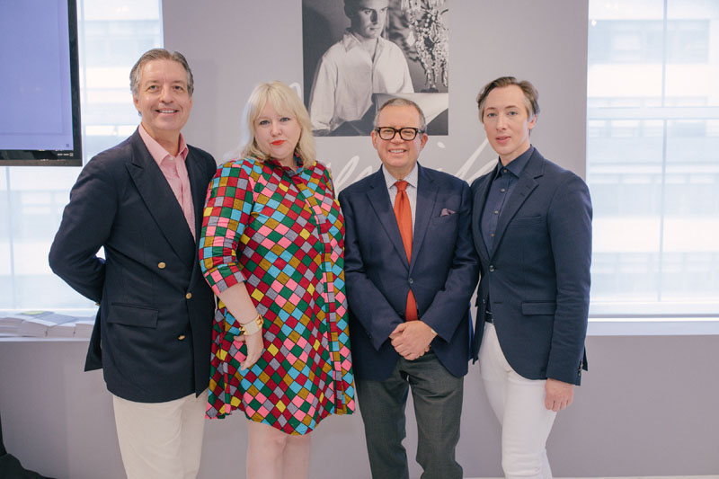 Alex Papachristidis (center right) and Emily Eerdmans (center left) celebrated the 'Jeremiah!' exhibit at The Gallery at 200 Lex with curator Dean Rhys Morgan (right), and moderator Mitchell Owens of Architectural Digest (left).