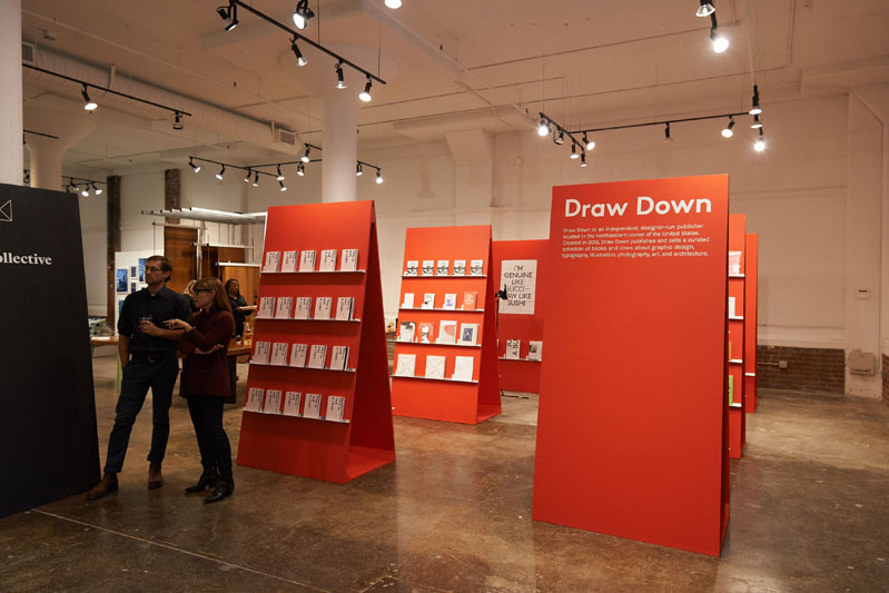 A collection of posters and books about art, architecture, photography and design on display at the Draw Down Bookshop
