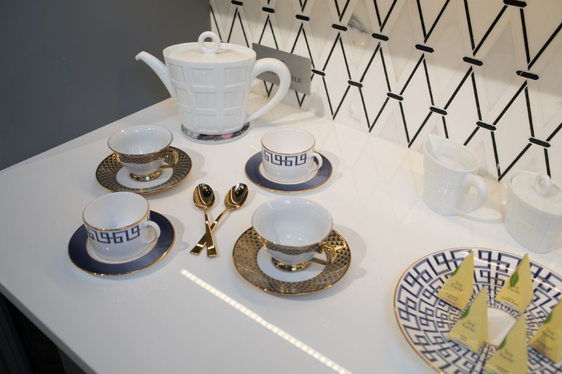 Tea service setup incorporated into Dayle Bass's design