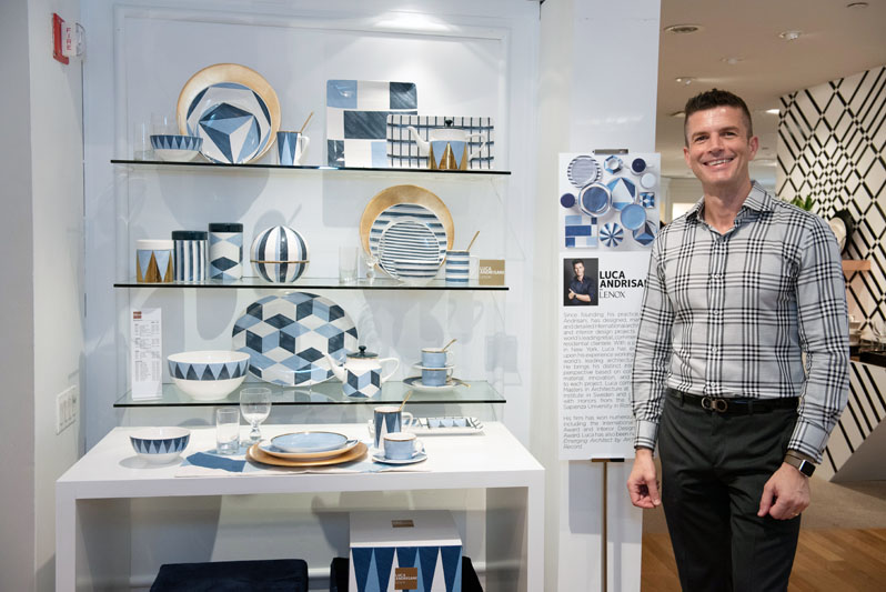 Luca Andrisani next to his award-winning collection Blue Azzurro