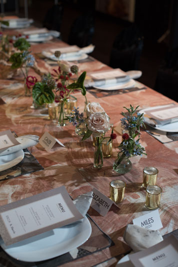 The tablescape was created using S. Harris fabric.