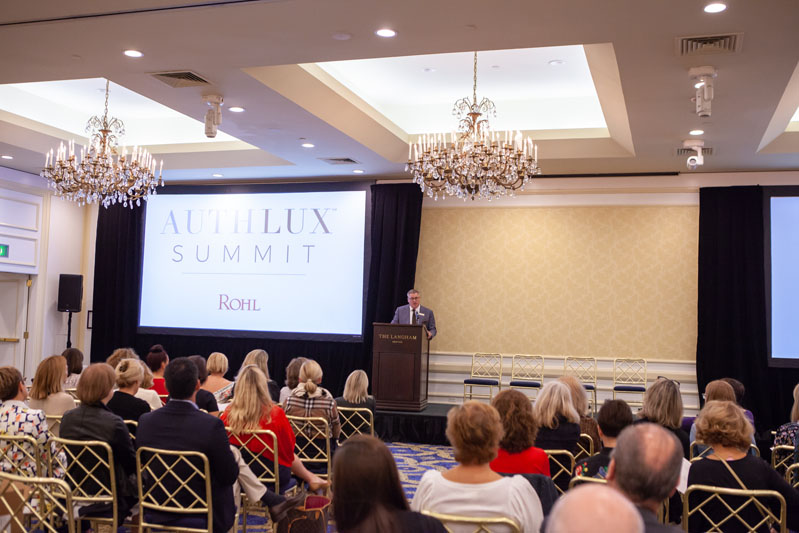 Greg Rohl, VP and design leader at House of Rohl, welcomes guests to the Auth Lux Summit.