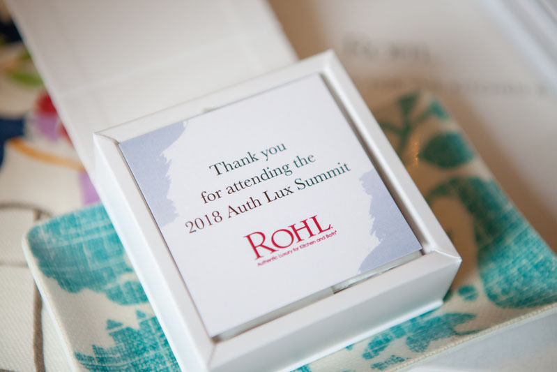 Attendees received gift bags with artisan truffles and custom jewelry trays made from Mally Skok Design fabric.