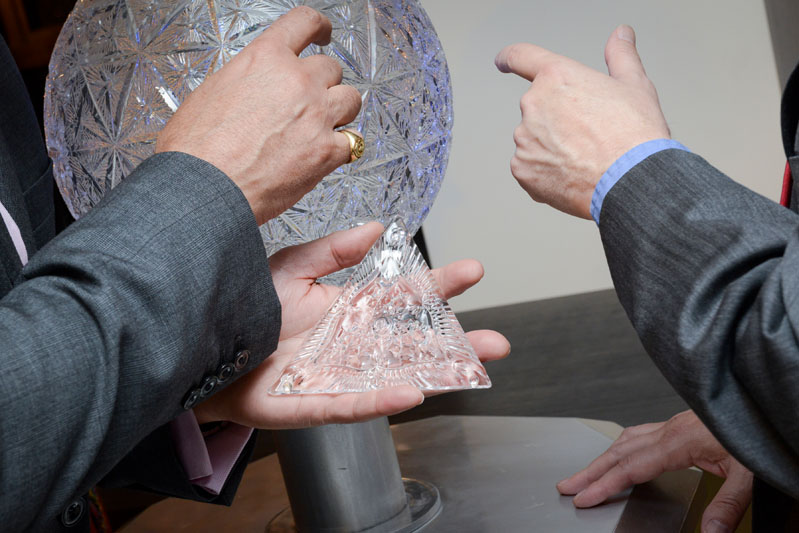 Guests interact with the Waterford Times Square Crystal Ball podium.