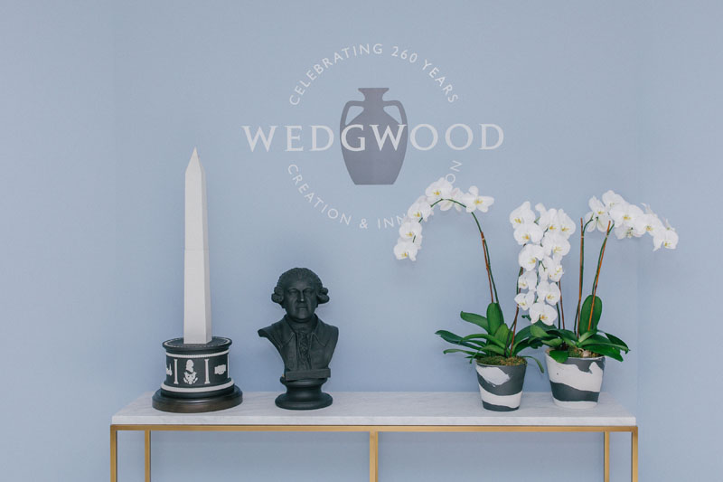 A Wedgwood lifestyle display to celebrate the brands' 260th Anniversary, featuring the Gift Between Nations and Josiah Wedgwood