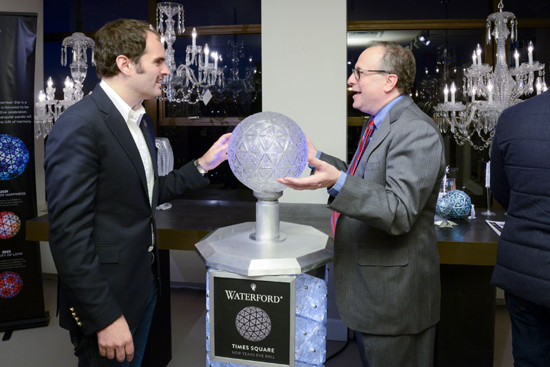 Whitney Robinson and Jeffrey Straus with the Waterford Times Square Crystal Ball podium