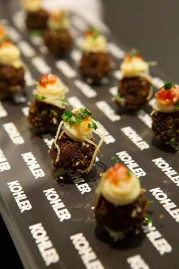 Guests snacked on Kohler-branded hors d'oeuvres.