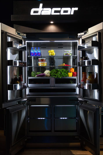 Dacor's new 42-inch french-door modernist refrigerator has counter-height vertical bottom freezer doors, which help it blend perfectly with surrounding cabinetry.