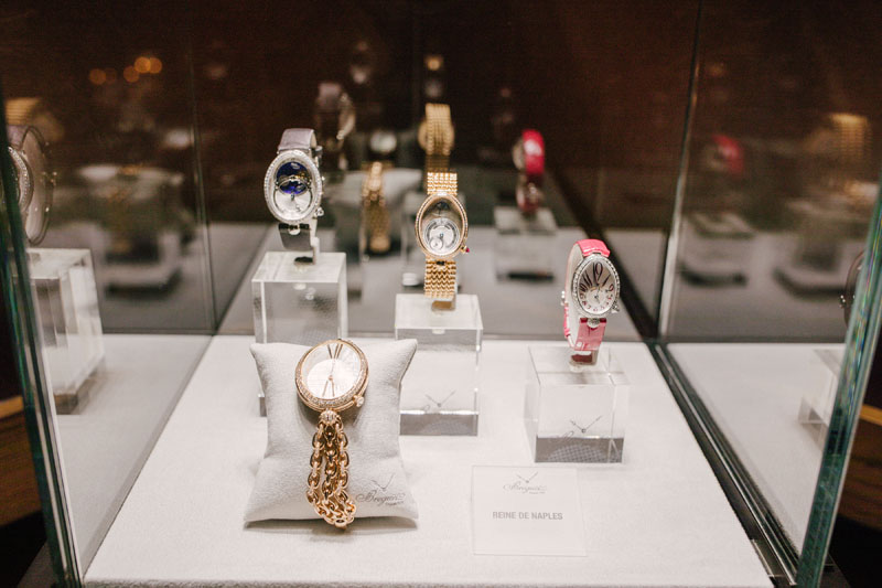 Breguet timepieces on display.
