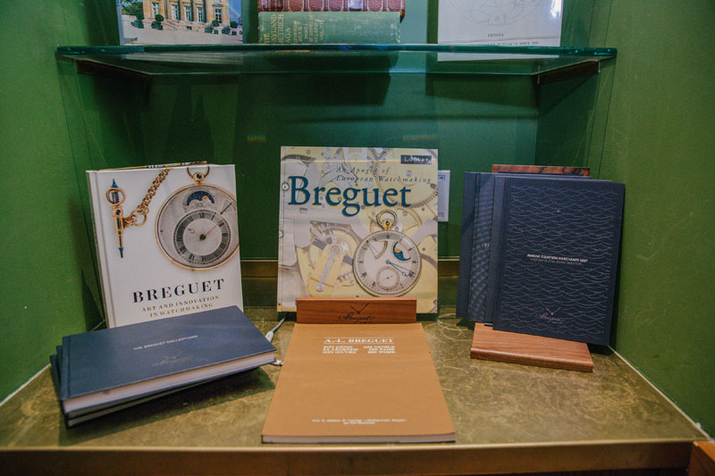 Breguet literature on display.
