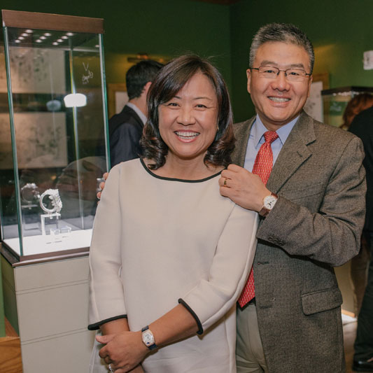 Kim and Peter Guo model Breguet timepieces.