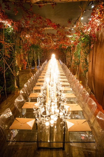 Restaurant Marc Forgione was decorated with greenery.