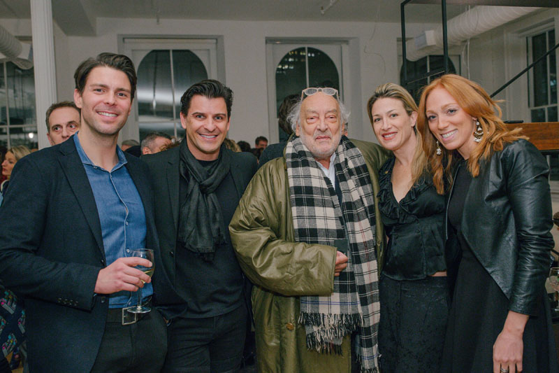 Marco Petrini and Davide Cremese of Boffi with design legend Gaetano Pesce and DNA's Alex Polier and Leah Blank