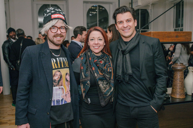 Dylan Kruse from Rockwell Group with Dawn Roberson of DIFFA and Davide Cremese of Boffi