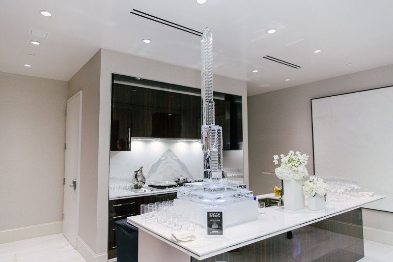 Custom ice sculpture of Central Park Tower by Okamoto Studio