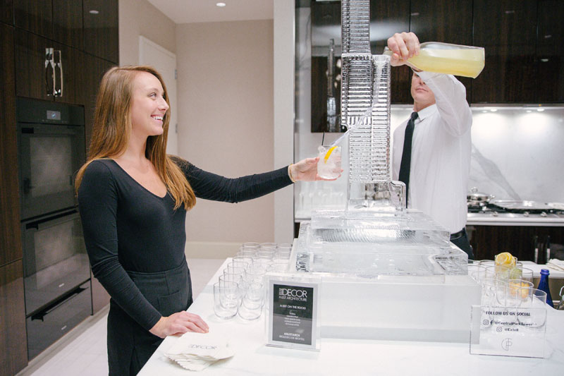 "Custom Central Park Tower ice luge by Okamoto Studio, serving the ""A-List on the Rocks"" signature drink"