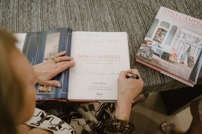 Nina Campbell signed copies of her book.