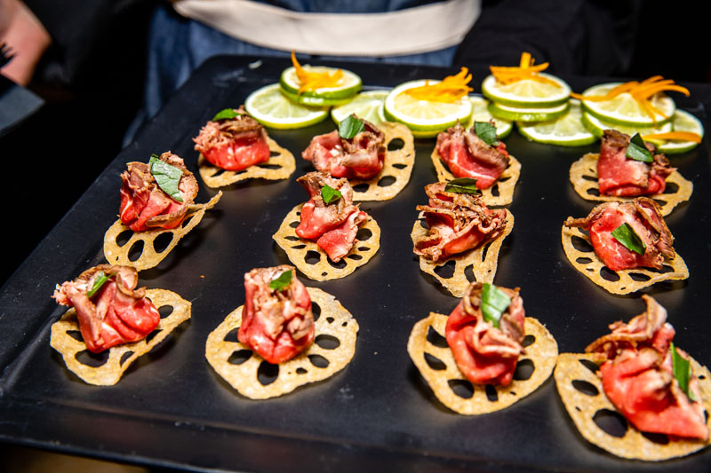 Guests enjoyed chef-prepared hors d'oeuvres.