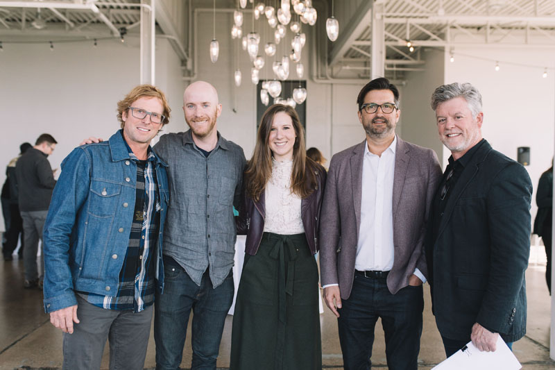 Greg Benson, CEO of Loll Designs; Jackson Schwartz, co-founder of Hennepin Made; Kaitlin Petersen, editor in chief of Business of Home; John Christakos, CEO and co-founder of Blu Dot, and Bill Baxley, managing director at Gensler