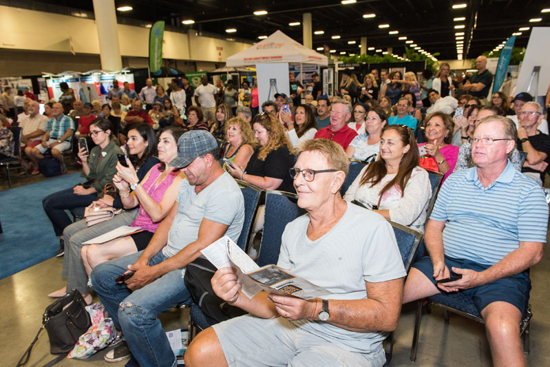 Guests await a presentation at the Home Improvement stage.