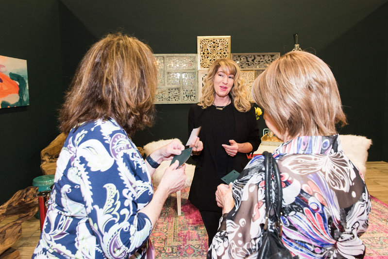 Martha Antonini, a Home Show featured designer, greet guests.