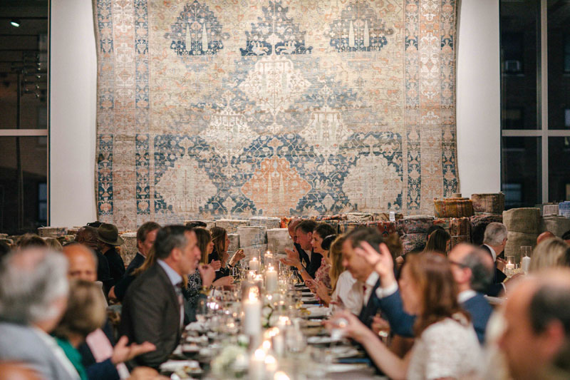 A-List designers enjoyed a seated dinner in the new rug showroom.