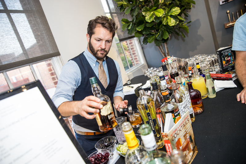 A mixologist created custom cocktails for guests.