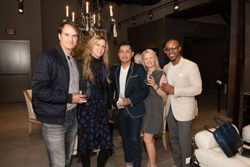 Designers including Kati Curtis (second from left) and Corey Damon Jenkins (far right) were on hand to celebrate the showroom's opening.