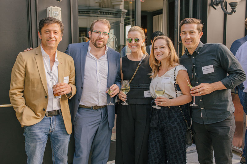 Jason Chadda of SilverLining UK and Ben Burley of SilverLining, with Olivia Powers, April Watters and Nicholas Deramo of Ingrao