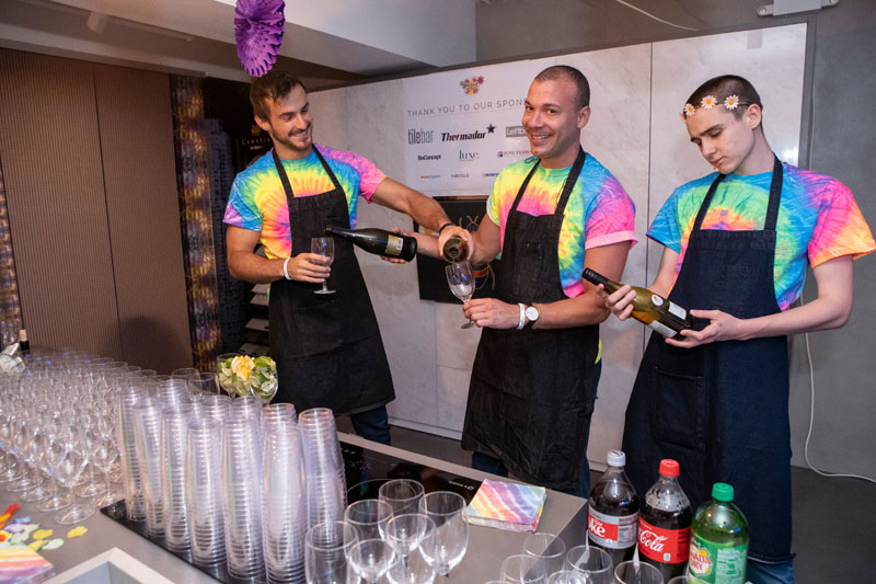 Festive bartenders showed off their skills in colorful style.