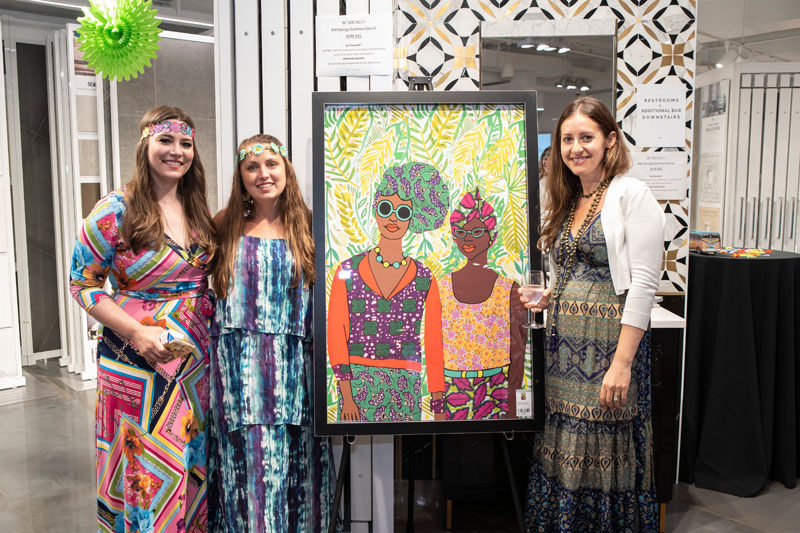 Claire Druga, Alyssa Grella and Jennifer Minksy pose with a piece from Leftbank Art