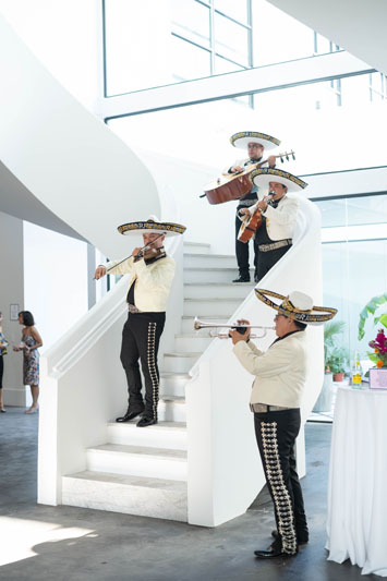 As an ode to the home's Mexican neo-Mayan design theme, guests were welcomed by a mariachi band.