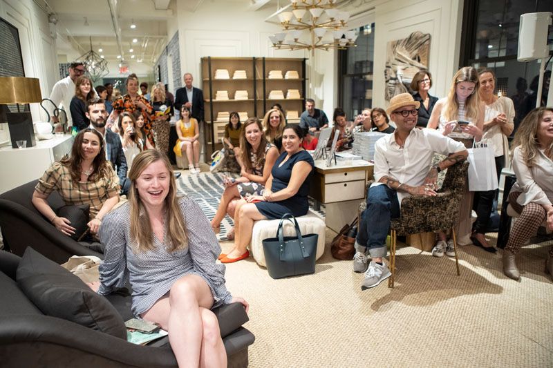 More than 75 designers and industry insiders attended the live podcast recording int he EJ Victor showroom.